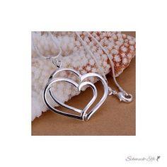 Doppel Herz  Anhänger inkl. 925 Silber Kette  im...