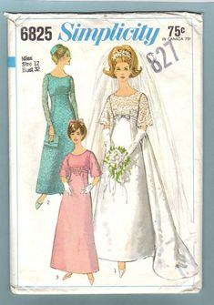 Simplicity 6825 Wedding Dress Formal Bridesmaids Dress Vintage 60s Sewing Pattern Cut No Instruction Sheet Size 12 Bust 32. $6.00, via Etsy.