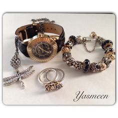 PANDORA. Gorgeous Gold n Black Set with Watch, Rings, Bracelet and Dragonfly Necklace♡ very nice Yasmeen.