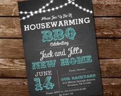 Chalkboard Housewarming BBQ Invitation by SunshineParties on Etsy