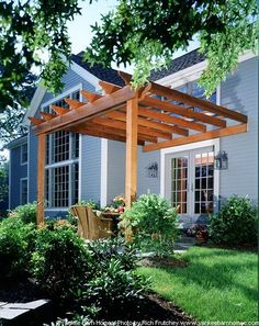 Clean lines-simpler patio cover (will add curtain for hot afternoon sun) Yankee Barn Homes Pergola diy modern screen wall Pergola Swing, Outdoor Pergola, Backyard Pergola, Pergola Shade, Pergola Kits, Outdoor Rooms, Backyard Landscaping, Outdoor Living, Pergola Ideas