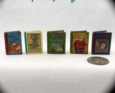 Miniature Books -- CLASSIC CHILDREN'S STORY BOOK SET of 5 Dollhouse 1:12 Scale #LittleTHINGSofInterest