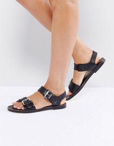 Depp Buckle Strap Tie Leather Mule Flat Shoe - Black leather Depp London 47iDK9dVw