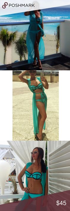 Beach/swim cover up Worn but still in perfect condition.Stunning swim cover up , gorgeous color . One size . Adjustable belt . Swimsuit is also for sale Swim Coverups