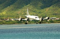 Marine Corps Base Hawaii (July 7, 2004) — A U.S. Navy P-3C Orion approaches the landing area at Marine Corps Air Station Kaneohe, Hawaii, during exercise Rim of the Pacific (RIMPAC) 2004.