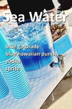 Pool Party : Ocean Water Drink : Blue Gatorade, Blue Hawaiian Punch, Sprite in equal parts - add vodka for adults Liquor Drinks, Cocktail Drinks, Fun Drinks, Yummy Drinks, Beverages, Best Party Drinks, Good Vodka Drinks, Beach Alcoholic Drinks, Uv Blue Drinks