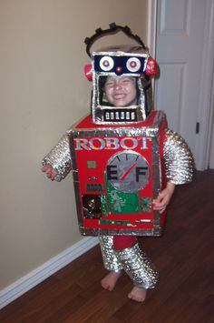 Robot costume!!!! i made jakey . my all time favorite halloween costume. now what are the kids going to be this year
