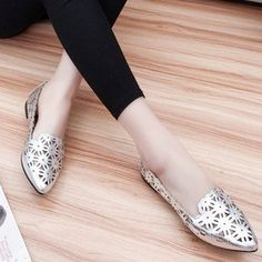 Hot-sale Floral Hollow Out Breathable Korean Style Pointed Toe Slip On Flat Shoes - NewChic