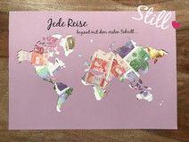 Geldgeschenk *Weltkarte* Jede Reise beginnt...