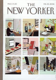 """SHELF LIFE"" -- SUPER NEW YORKER COVER. Traces a new book to its ultimate fate…"