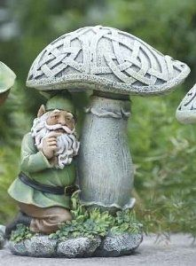 Gnome with Celtic Knot Mushroom - Decorating a Garden for St. Patrick's Day