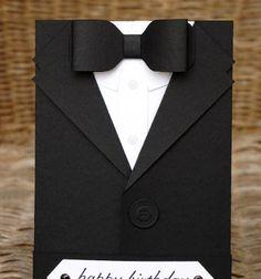 Formal tuxedo style gift / invitation card ( with printable ) // Öltönyös csokornyakkendős képeslap - meghívó // Mindy - craft tutorial collection