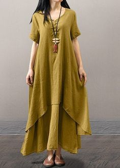 Short Sleeve Layered V Neck Maxi Dress on sale only US$33.00 now, buy cheap Short Sleeve Layered V Neck Maxi Dress at liligal.com