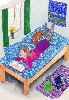 Rainy Afternoon: Illustration, Painting, Bed, Thinking, Rain