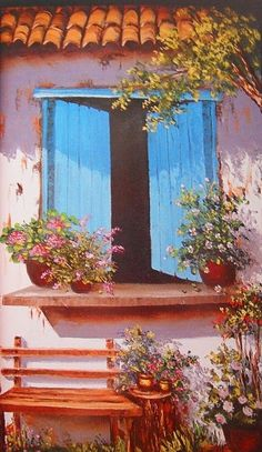 pinturas al oleo ventana - Buscar con Google Watercolor Flowers, Watercolor Paintings, Illustration Art, Illustrations, Ribbon Art, Window Art, Naive Art, Painting Lessons, Beautiful Paintings