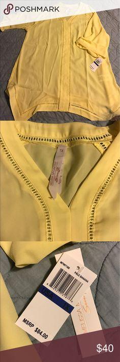 Summer tunic Yellow drapey tunic. New with tags! Melissa McCarthy Tops Tunics