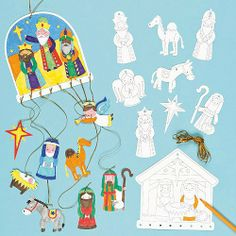 Nativity mobile craft for kids.