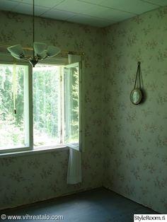 makuuhuone,ennen ja jälkeen,rintamamiestalo,remontti,kesämökki
