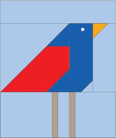 Bird paper-pieced / foundation-pieced free quilt block pattern