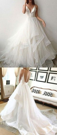 White tulle backless long v neck layered formal prom dress, white wedding dress from Girlsprom Layered Wedding Dresses, Wedding Dress Trends, Bridal Dresses, Prom Dresses, Wedding Ideas, Wedding Pics, Bridal Gown, Fairy Wedding Dress, Backless Wedding