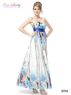 Strapless Printed Empire Line Blues Chiffon Evening Dress