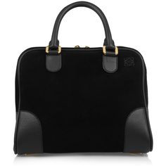 Loewe Amazona 75 small suede and leather tote (635.195 HUF) ❤ liked on Polyvore featuring bags, handbags, tote bags, purses, black, black handbags, suede tote, genuine leather tote, leather purse and zippered tote