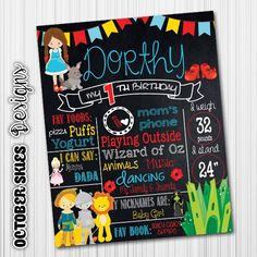 Wizard of Oz Chalkboard Poster  1st by OctoberSkiesDesigns on Etsy