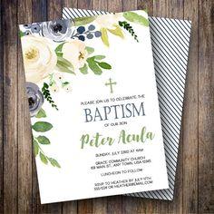 Boy Baptism Invitation, Navy Baptism Invitation, Boy Baptism invite, Gender Neutral Baptism, Watercolor Baptism Invite in Green, Navy - Spotted Gum Design - Etsy
