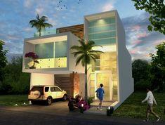Fachada nocturna: Casas de estilo minimalista por Milla Arquitectos S.A. de C.V.