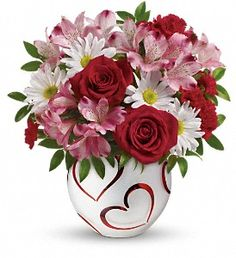 Red Roses, pink alstroemeria, miniature red carnations and white daisy in Teleflora Happy Hearts Bowl - Pensacola Flower Delivery - Pensacola Florist -T14V300A