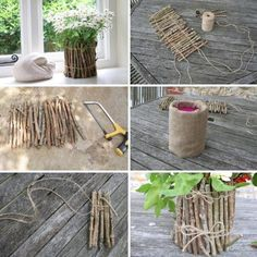 cool craft ideas for diy vase crafts with natural materials Informations About Basteln mit Naturmaterialien – 42 coole Bastelideen Pin You can easily . Vase Crafts, Fun Diy Crafts, Wood Crafts, Twig Crafts, Garden Crafts, Country Decor, Rustic Decor, Rustic Cake, Decoration Branches