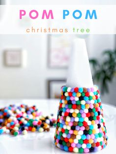 Easy Mini Pom Pom Christmas Tree DIY Craft - Great Holiday Decor Craft for Kids and Adults Christmas Tree Decorations For Kids, Christmas Crafts For Kids To Make, Christmas Tree Crafts, Mini Christmas Tree, Christmas Tree Toppers, Simple Christmas, Kids Christmas, Holiday Crafts, Holiday Decor