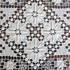 Vintage white needle lace Square doily fillet White by MyWealth