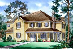 Farmhouse Style House Plan - 5 Beds 4.5 Baths 4427 Sq/Ft Plan #490-8 Exterior - Front Elevation - Houseplans.com