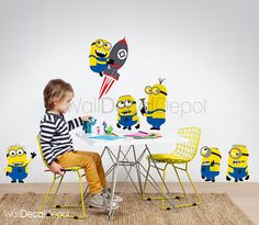 Wall decal sticker Minions wall decal despicable por WallDecalDepot