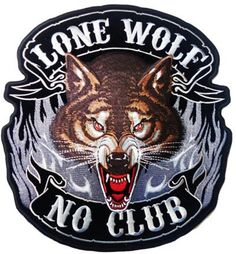 "Lone Wolf No Club Chopper Hog Outlaw Biker Rider Iron Embroidered Patch 3.6/""//9cm"