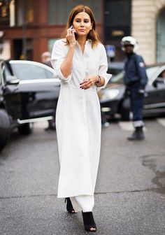 Pair a maxi dress with pants and contrasting heels
