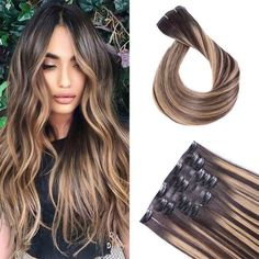 Black Balayage, Brown Hair With Blonde Highlights, Colored Highlights, Seamless Hair Extensions, Clip In Hair Extensions, Pretty Hairstyles, Straight Hairstyles, Wedding Hairstyles, Ash Hair