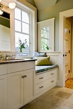 Kitchen window seat-Where the two old windows are now