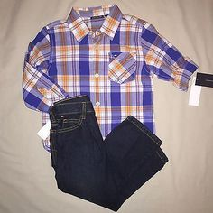 BOYS SIZE 4 TOMMY HILFIGER PLAID SHIRT JEANS 2 PC OUTFIT NWT