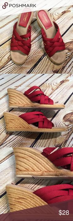VILLAGER/LIZ CLAIBORNE RED WEDGE SANDALS Super cute sandals with a wedge heel. Footbed is leather and straps are canvas. See pics of wedge where glue is slightly showing. Villager Shoes Wedges
