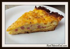Gluten Free and Low Carb Cheesy Quiche Recipe with Cauliflower Crust