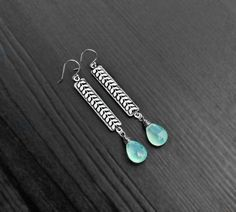 Blue Chalcedony Floral Bar Earrings fine by SaruchiRJewellery