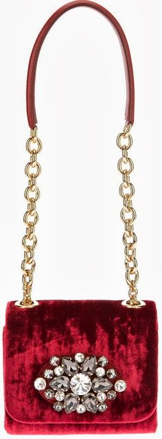 Dolce & Gabbana Velvet Embellished Shoulder Bag