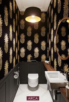 Get the Great of Black Wallpaper Bathroom for iPhone XR 2020 from Uploaded by user Black Wallpaper Bathroom Toilet, black beautiful toilet, gold toilet, wallpapers in toilet, pineapple wallpapers Small Downstairs Toilet, Small Toilet Room, Toilet Wall, Guest Toilet, Downstairs Bathroom, Master Bathroom, Wallpaper Bathroom Walls, Bathroom Wall Art, Wallpaper Toilet