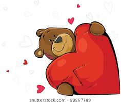 Valentines day bear Valentines Day Bears, Valentines Day Drawing, Valentine Day Gifts, Gifs Ideas, Valentines Illustration, Bear Wallpaper, Tatty Teddy, Cute Teddy Bears, Cartoon Images