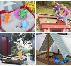 Time to get outdoors and spend the afternoons getting messy in sand. Don't have the space for a big sandbox? Check out the many portable and cost efficient sandbox options in these 25 DIY Summertime Sandboxes. Outdoor Play Spaces, Outdoor Fun, Outdoor Ideas, Diy For Kids, Crafts For Kids, Diy Crafts, Outdoor Projects, Diy Projects, House Projects