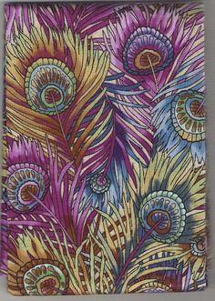 Peacock+Feather+Fabric | Hoffman California Fabrics Glass Garden Peacock Feathers Pink 3 YARDS