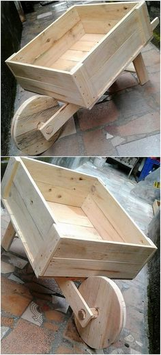 It would be a best option to come up with the utilization of the wood pallet in the project designing of the wood pallet wheel barrow work for your garden use. Here the image would show you out the barrow shaped box as put with the round wheel effect for its easy movement.