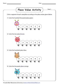 Place Value Activities Place Value Worksheets, Place Value Activities, Write In Standard Form, Place Values, Caterpillar, Writing, Math